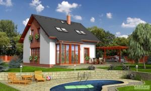 Model domu Akát, který stavíme levně jako dřevostavbu na klíč